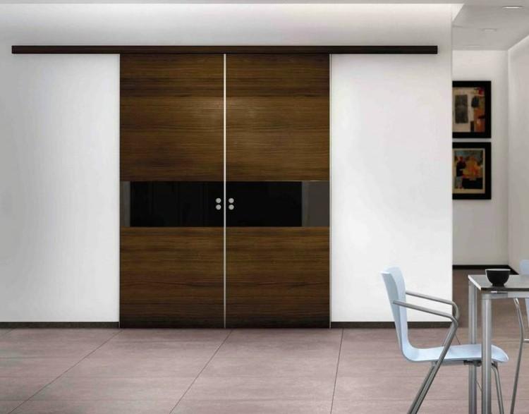 Puerta corredera 50 modelos para un espacio funcional for Puertas dobles de madera modernas