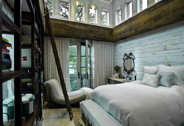 habitacion madera cabana colores estantes