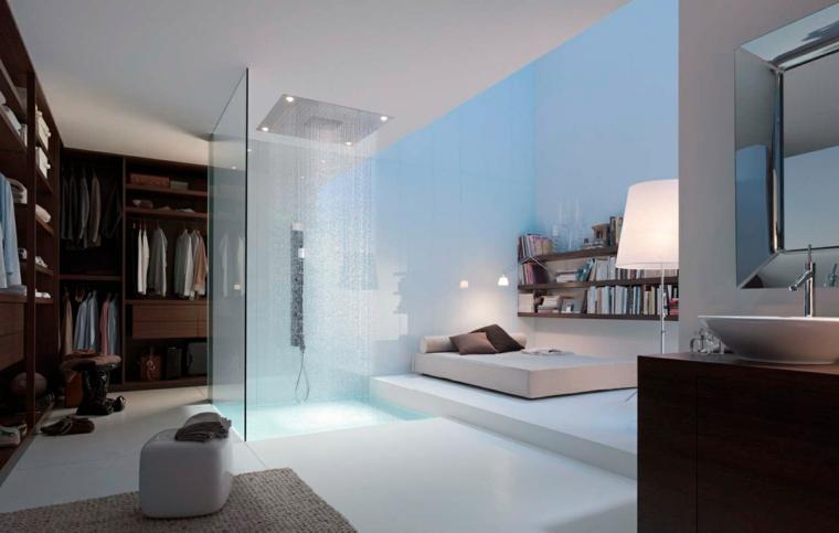 habitacion moderna ducha centro techo