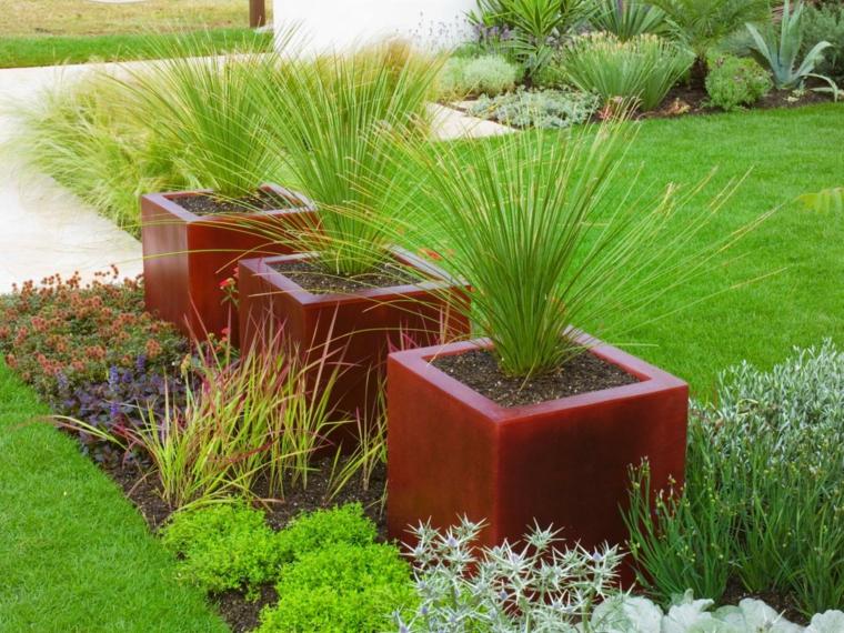 hierbas macetero hormigon rojo colorido