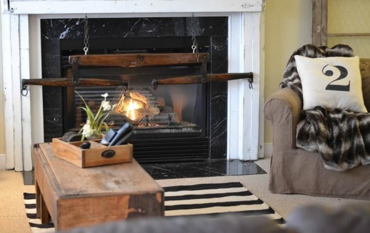 hoguera chimenea blanco cojin rustico