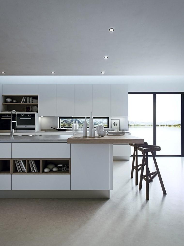 estilo cocina amplia blanca ideas moderna