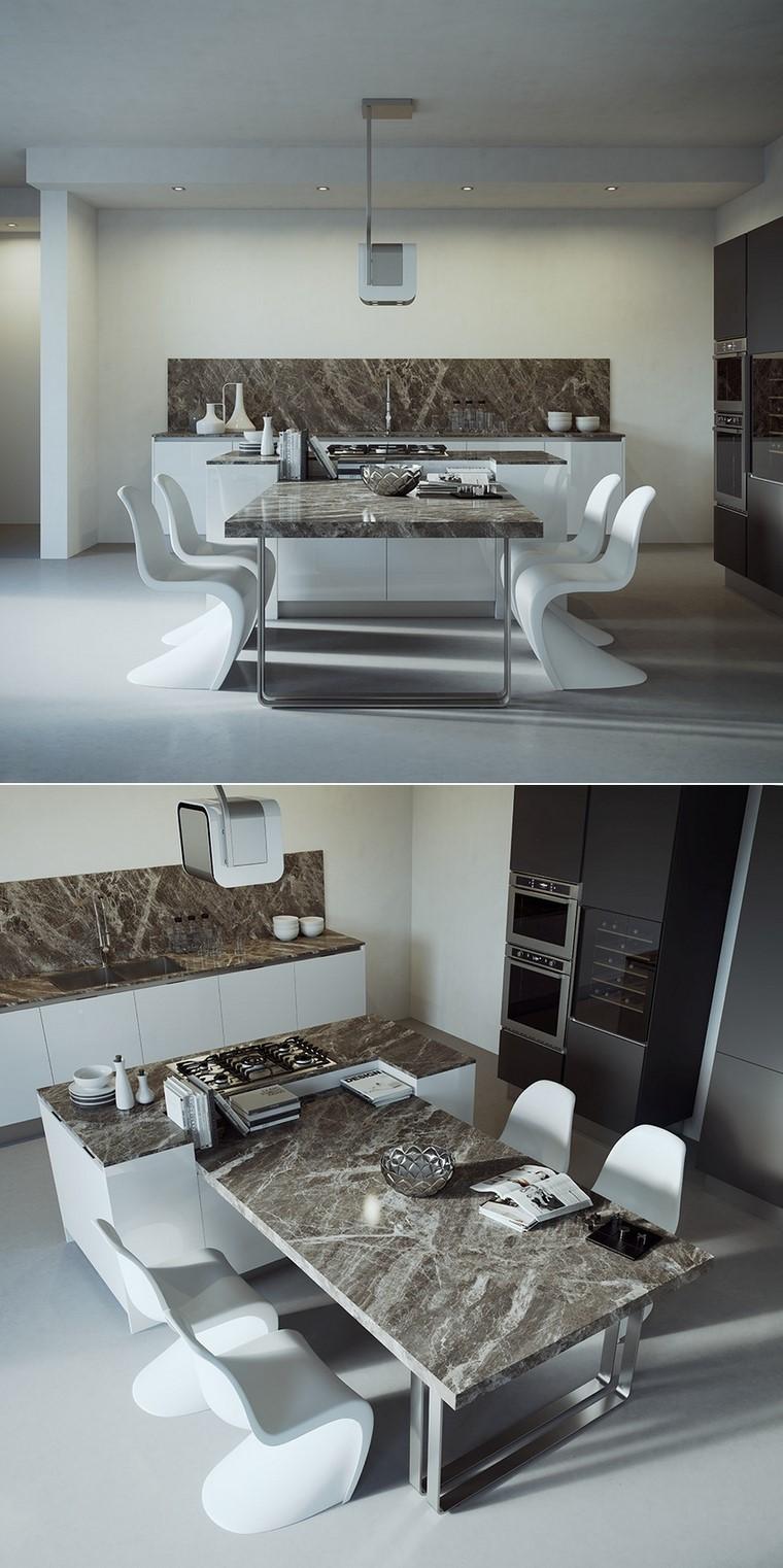 cocina amplia sillas blancas encimeras granito modernas