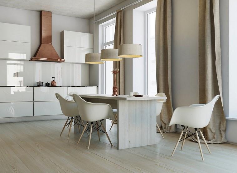 estilo cocina armarios blancos sillas diseno moderna