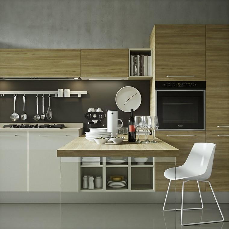 ideas cocina armarios madera silla blanca moderna