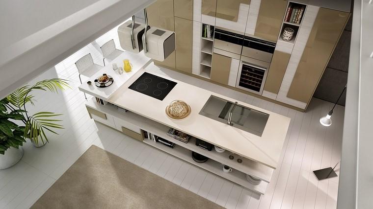 estilo cocina blanca isla grande ideas moderna
