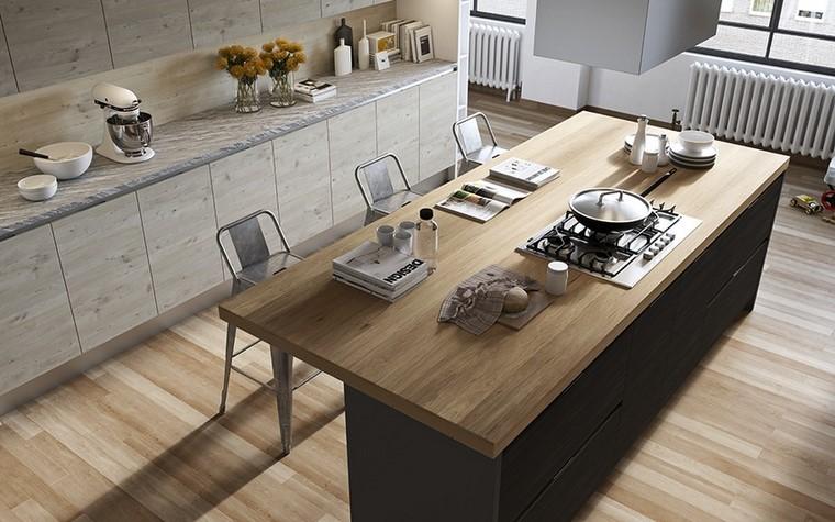 hombres cocina muebles madera encimera granito moderna