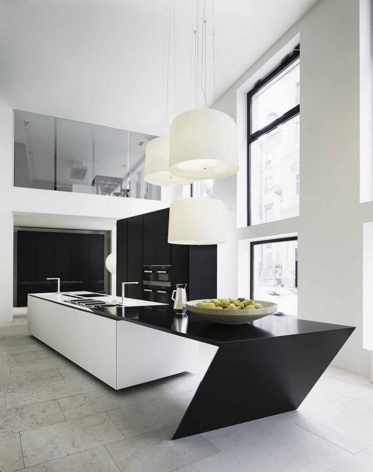 hombres cocinas amplias muebles negros moderna