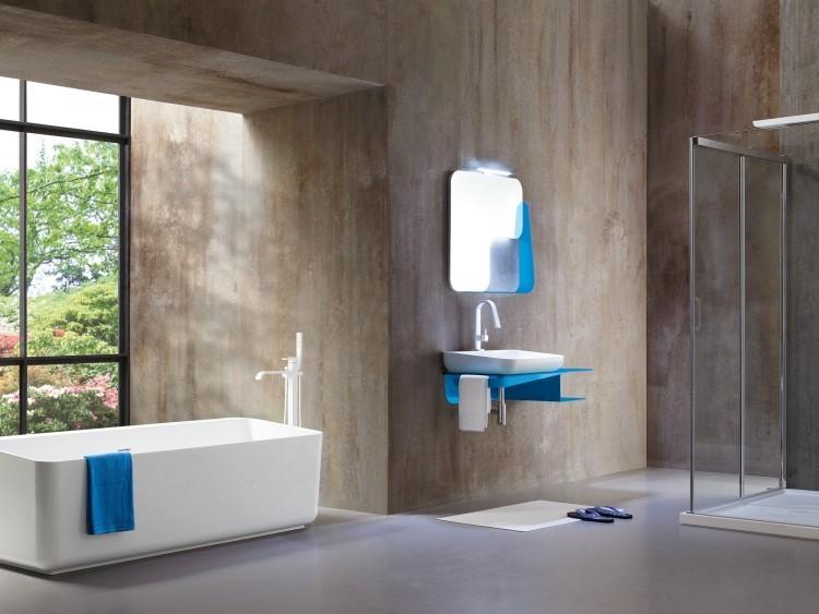 hormigon bañadera toalla espejo azul