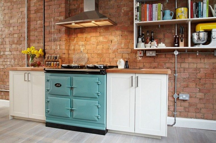 horno precioso ladrillo pared estilo industrial cocina ideas