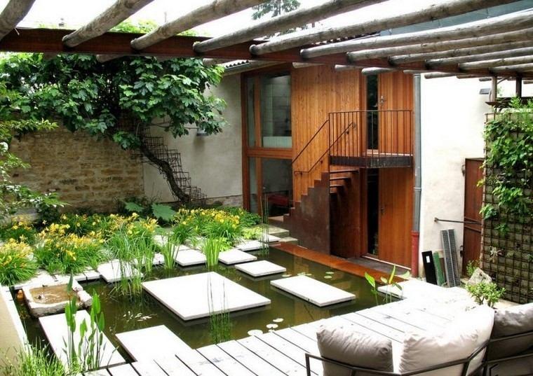 ideas creativas jardines pequeños estanque orecioso moderno