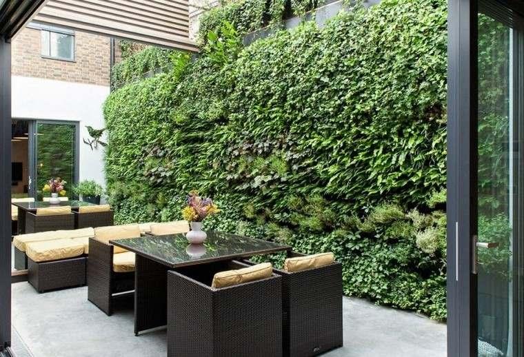 ideas creativas jardines pequeños jardin vertical pared moderno