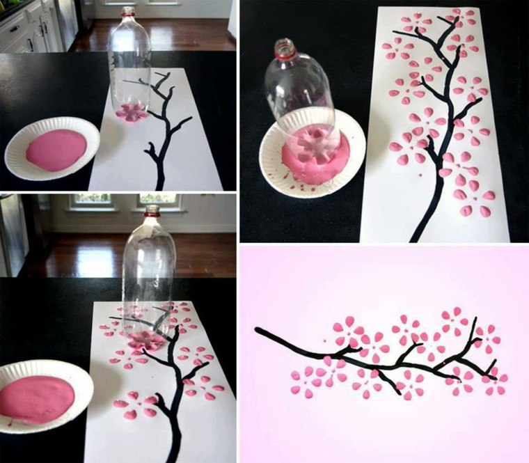 ideas decoracion diy botella cuadro rosa
