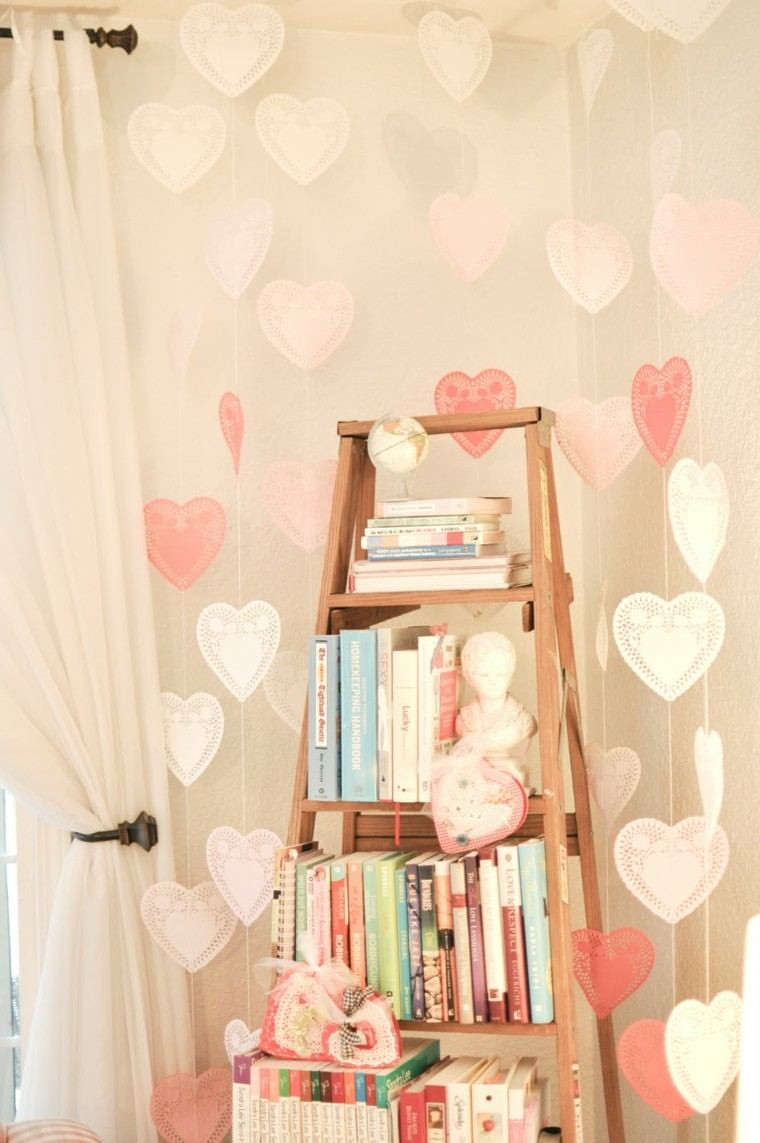 ideas decoracion diy cortina rosa corazones