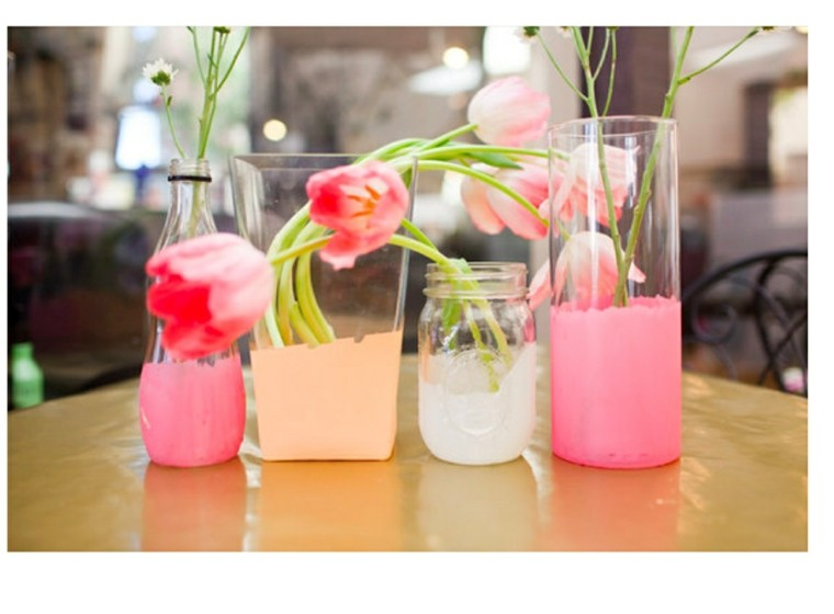 ideas decoracion diy flores mesa plastico
