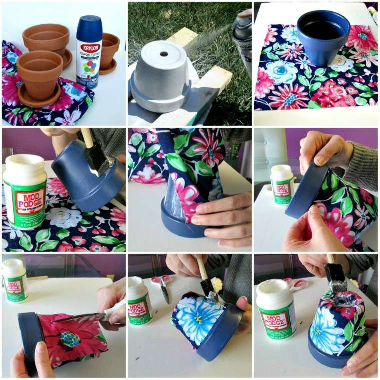 ideas decoracion diy maceta colorida revestida