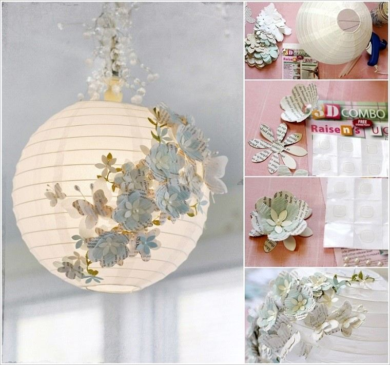 ideas decoracion diy papel lampara esfera