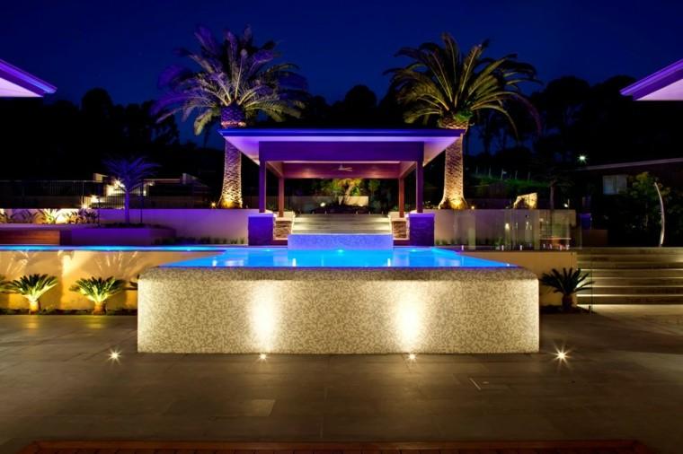 iluminacion piscinas plantas noche nivel