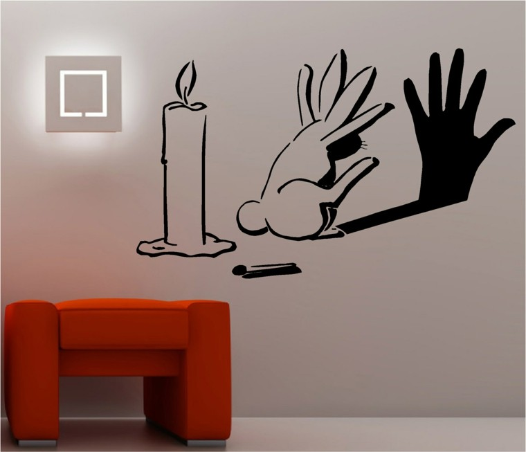 interior moderno pared vela conejo ideas