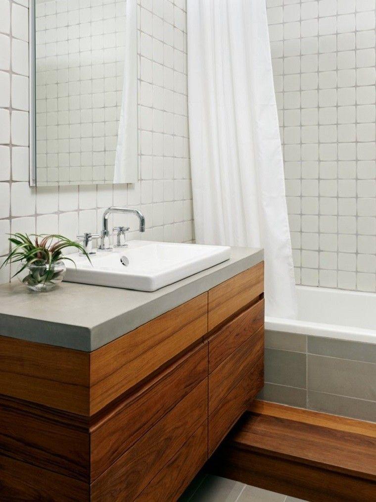 interiores minimalistas banos lavabo madera ideas