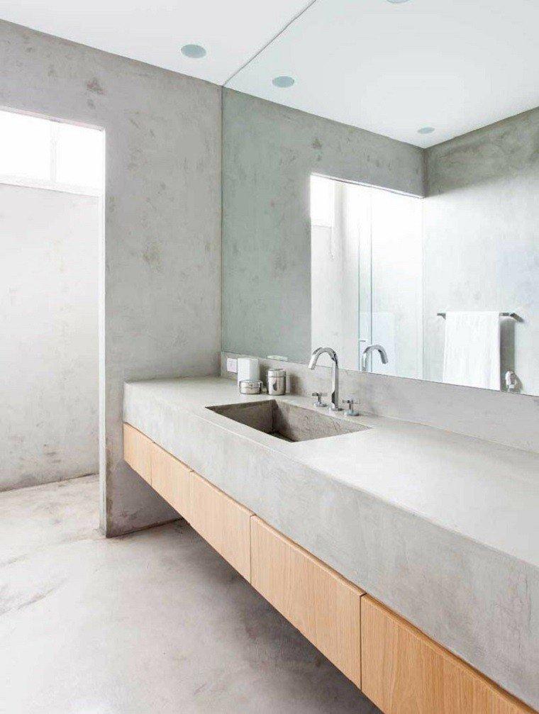 interiores minimalistas baños espejo grande ideas
