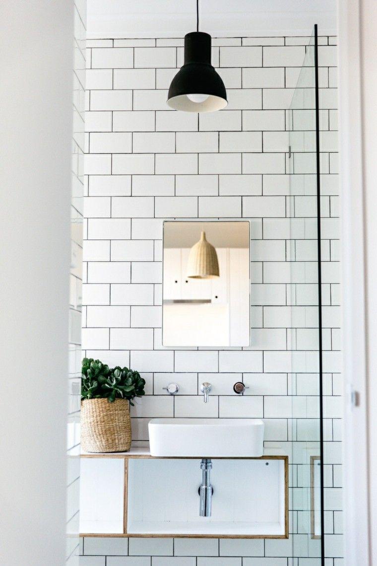 Baños Elegantes Pequenos:Interiores minimalistas baños modernos con losas blancas en la pared