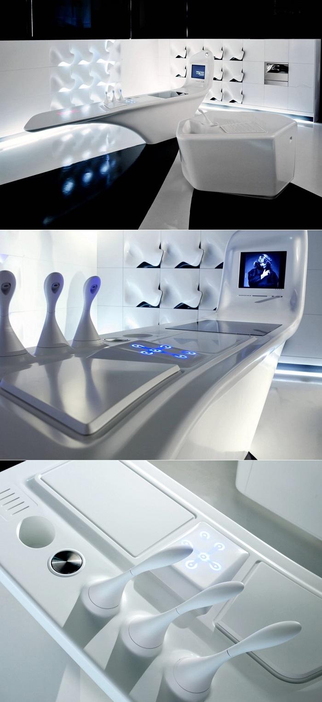 isla cocina blanca diseño futurista