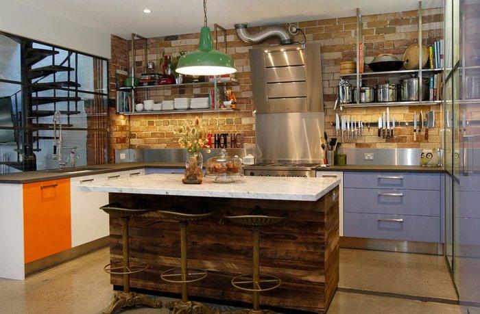 isla cocina de madera marmol
