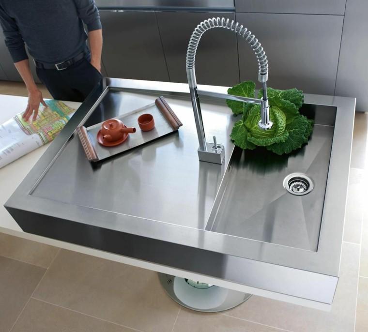 isla cocina lavabo acero moderno