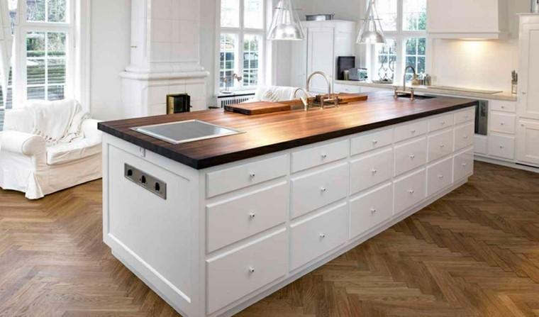 isla grande cocina amplia encimera madera ideas