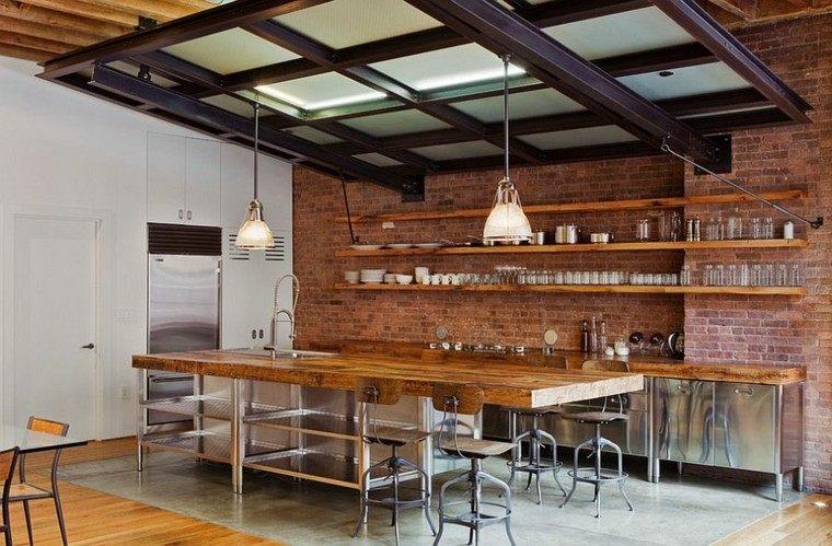 isla grande estantes estilo industrial cocina ideas