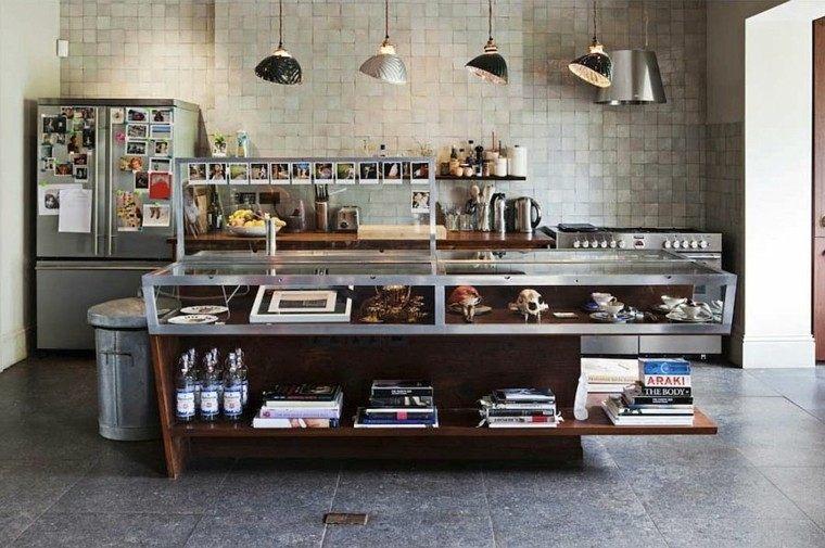 isla metal madera estilo industrial cocina ideas