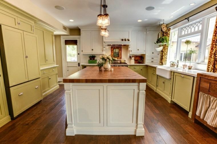islas cocinas amplias muebles madera ideas