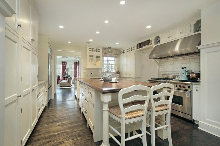 islas cocinas muebles madera blanca ideas