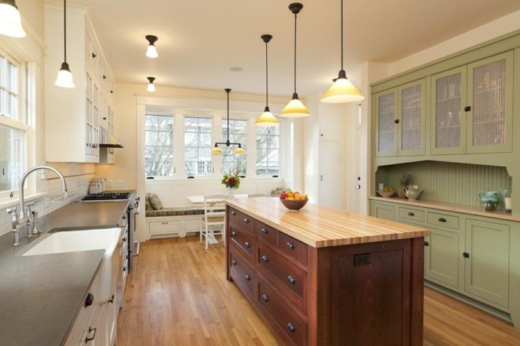 islas cocinas muebles madera distintos colores ideas