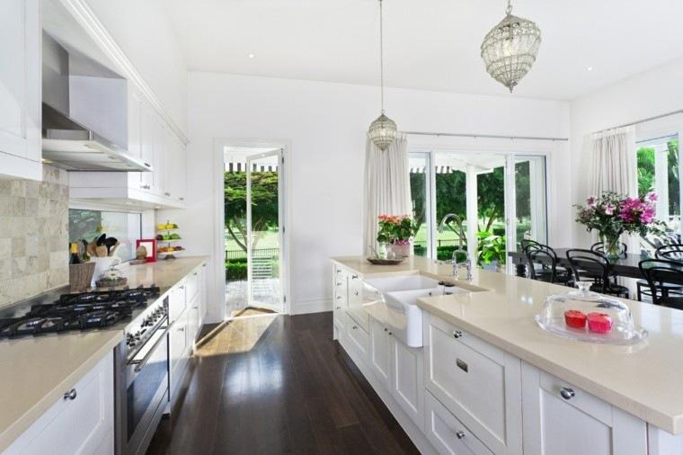 islas cocinas muebles paredes blancas preciosas ideas