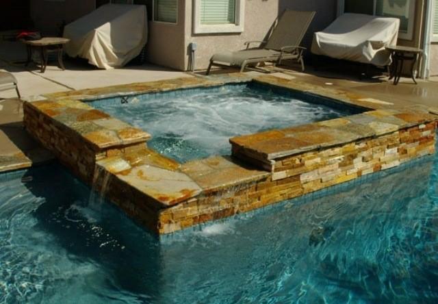 jacuzzi cuadrado piscina piedra esquina