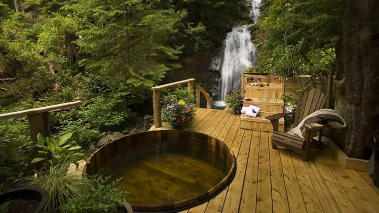 jacuzzi jardines madera bosque asiento