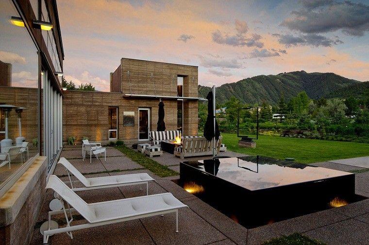 jacuzzi jardines moderno casa montañas