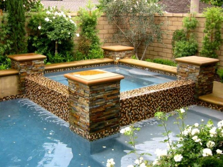 jacuzzi jardines patio agua muro