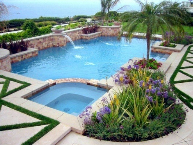 jacuzzi piscina esquina isla plantas