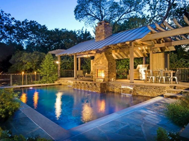 jardin amplio piscina cocina aire libre pergola ideas