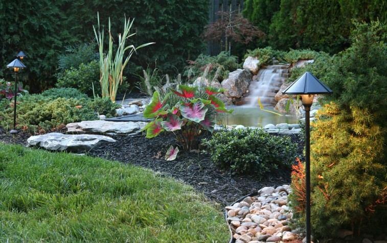 jardin cascada estanque sendero piedras