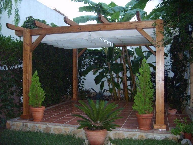 jardin cesped suelo losas pergola ideas