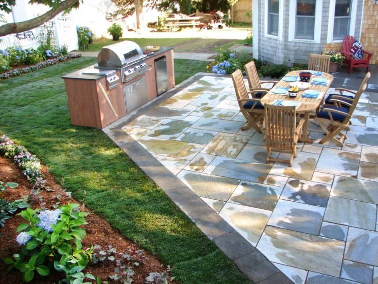 jardin cesped cocina muebles teca ideas