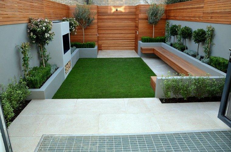 jardin moderno chimenea valla madera