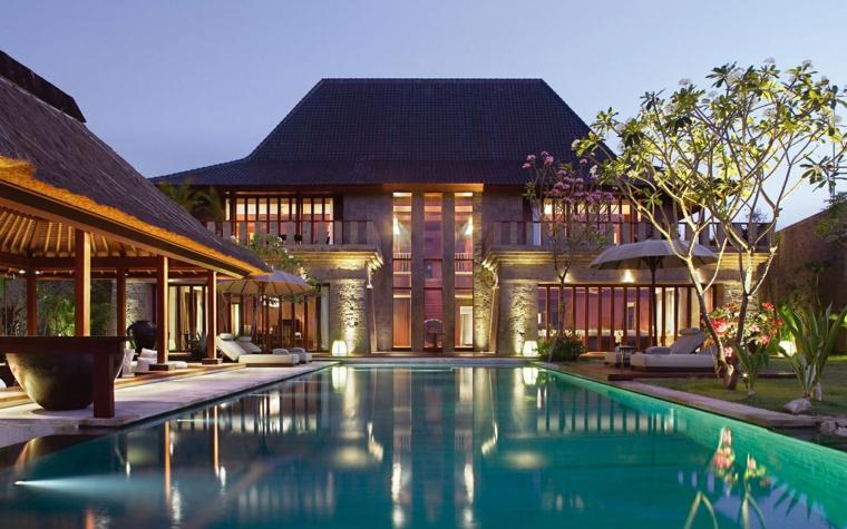 piscinas jardines diseño creativo estilo casa luces