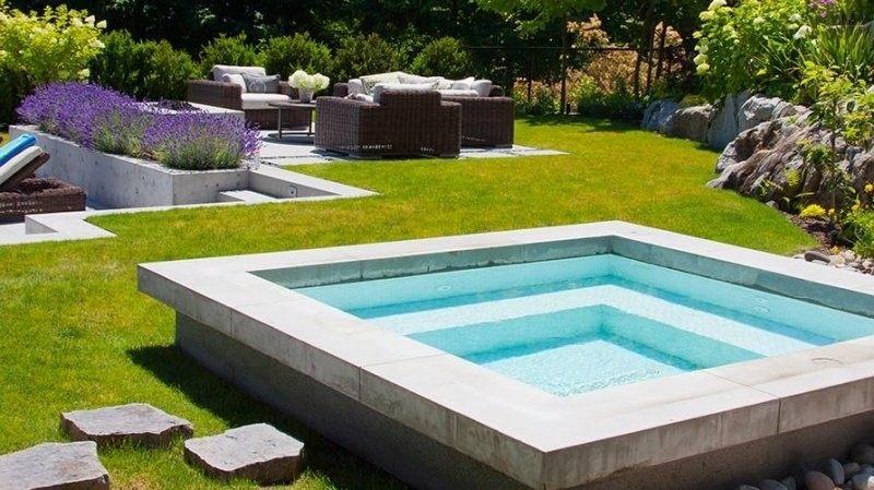 jardin diseño moderno jacuzzi cuadrado
