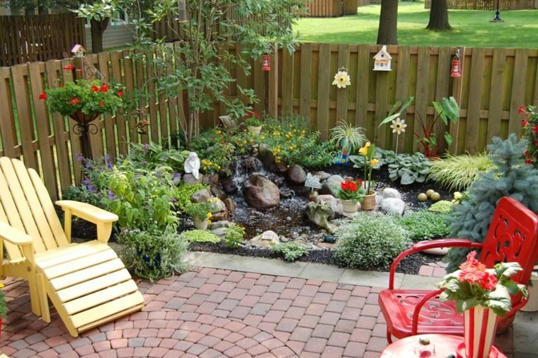 jardin esquina rocalla plantas sillas