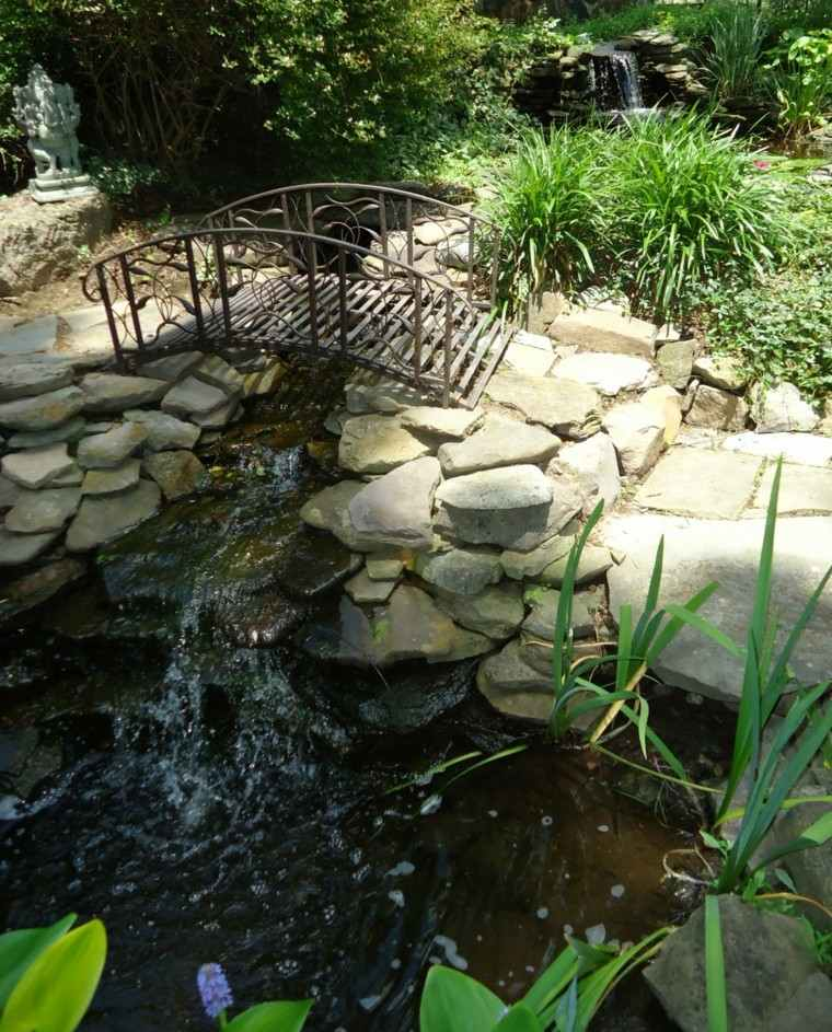 jardin estanque puente cascada cascada
